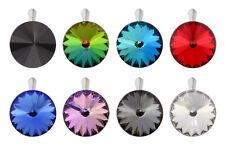 Sterling Silver Rivoli Pendants with SWAROVSKI 1122 18mm Crystals * Many Colors