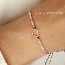 Gold Heart Love Charm Bracelet Beaded Friendship Jewellery Valentine Day Gift UK