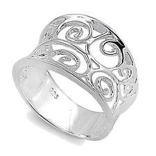 Women Sterling Silver Filigree Ring 15mm / Free Gift Box