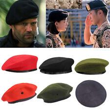 Mens Ladies Military Plain Beret Hat Wool Leather Adjustable Army Cadet Hat Cap