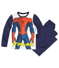 Garçons Enfants OFFICIEL MARVEL SPIDERMAN blanc/bleu pyjama manches longues
