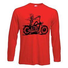 SKELETON RIDER LONG SLEEVE T-SHIRT - Biker Chopper Motorcycle - Choice Of Colour