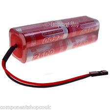 9.6 V 2600 mAh AA SQUARE 2x2x2 NiMH émetteur Batterie Pack + CUSTOM Connecteur