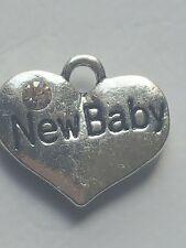 "1 OR 4 ""NEW BABY"" TIBETAN SILVER RHINESTONE  HEART  BABY THEME CHARM"