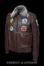 'TOP GUN' Men's Brown G1 Style Bomber Aviator Pilot Cowhide Leather Jacket