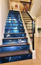 3D Bule Planet Stair Risers Decoration Photo Mural Vinyl Decal Wallpaper CA