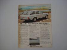 advertising Pubblicità 1980 MERCEDES BENZ 300 TD TURBO DIESEL