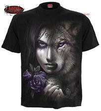 Espiral Directo Wolf SOUL Camiseta/Biker/Aullidos Wolf/Tribal/Tatoo/Salvaje/Nativo/Top
