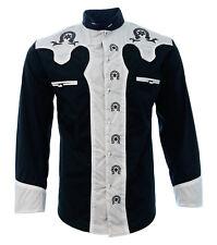 Men's Charro Shirt Camisa Charra El General Western Wear Black White Long Sleeve