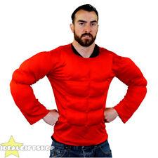 Rouge faux torse musclé rembourré chemise top robe fantaisie super héros bodybuilder