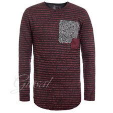 Maglione Uomo Pullover Righe Bordeaux Nero Toppe Quadri Slim GIOSAL