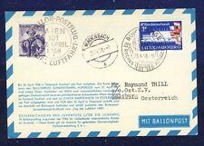 42355) Österreich Ballonpost RBF 19 Wien 27.4.58, Karte ab Rumelange Luxemburg