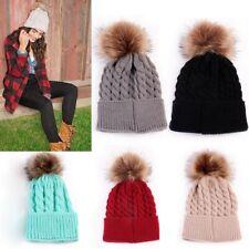 Mother Baby Crochet Knitted Hat Pompom Ball Winter Warm Cap Wool Fur Beanie Hat