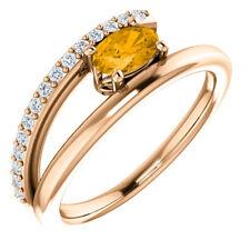 Citrine & 1/8 CTW Diamond Bypass Ring In 14K Rose Gold
