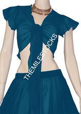 TMS Dark Teal Ruffle Top Choli Belly Dance Club Costume Boho Tribal Blouse Haut