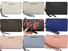 Michael Kors Jet Set Double Zip Wristlet Phone Wallet Pink Brown Floral