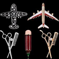 Fashion Women Plane Scissors Crystal Rhinestone Pearl Brooch Pin Costume Jewelry