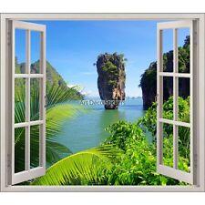 Sticker fenêtre trompe l'oeil Mer Rocher réf 5453 5453