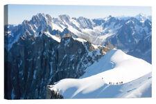 Stampa su Tela Vernice Effetto Pennellate montagne neve