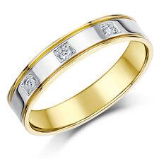 18ct Oro Dos Colores Anillo Diamante Boda 4mm Banda