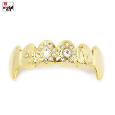 Vampire GRILLZ Stone Fangs 14k Gold Plated Top Upper Teeth Fang Dracula L021G