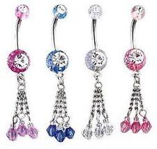 Glitter & Beads Dangle Belly Bar - Choose Colour & Length 6mm 8mm 10mm 12mm 14mm