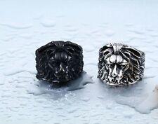 Mens Lion Gothic Biker Cool Ring Vintage Silver Black Steel Goth Lion Head Ring