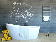 Bathroom wall sticker decal hello kitty bathtime quote art funny