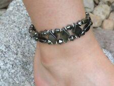Mens Womens 100% Magnetic Hematite BRACELET ANKLET 2 row DIAMOND SHAPED HEMATITE