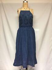 Lucky Brand Schiffli Embroidered Bib Dress 7W90408 Blue NWT medium