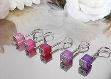 Edelstahl Ohrhänger mit funkelnden Crash Glas Würfel Lila Pink Rosa - Farbwahl