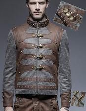 Veste blouson gothique steampunk cuir patiné bicolore rouages Punkrave Homme