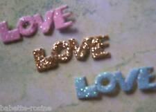 LOT de 3 APPLIQUES LOVE en tissu pailleté **8 mm** Scrapbooking Carterie