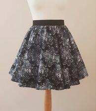 Mini Skater Skirt Gothic Filigree Skulls All Sizes - Black Grey Grunge Goth Punk