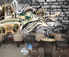 3D Graffiti Rock & Roll Recorder Street Wall Murals Wallpaper Decals Print Decor