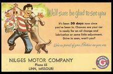 1952 PONTIAC SERVICE School Kids & DOG Nilges Motor Linn MO Advertising Postcard