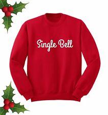 Single Bell Jingle Noël Fête Cadeau Slogan Rouge Pull Sweater Sweat