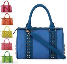 New Womens Satchels Handbags Ladies Studded Designer Shoulder Bags Faux Leather