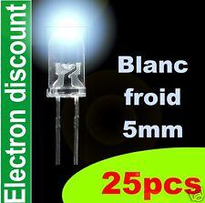 417/25# LED 5mm Blanc froid 25pcs + résistance 18000mcd