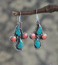 Wedding Hook Dangle Earrings Party Jewelry Vintage Boho 925 Silver Turquoise Gem