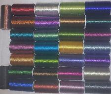 30 Metálico Hilos De Bordado Carretes, 30 diferentes colores 366m cada bobina