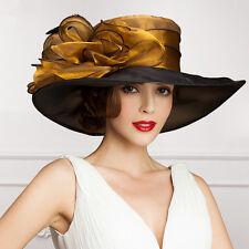 Womens Noble Dress Flower Wide Brim Hat Church Wedding Derby A045