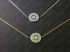 925 Sterling Silver / 18K Gold Vermeil Turquoise CZ Evil Eye Mati Nazar Bracelet