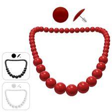 Ohrstecker rund + Perlenkette SET 50er 60er Rockabilly Rockabella