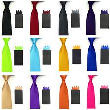Men Solid Satin 5cm Slim Tie Necktie 4 Folds Pre-folded Pocket Square Hanky Set