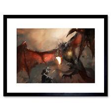 Painting Illustration Fantasy Dragon Slayer Battle Cool Framed Print 12x16 Inch