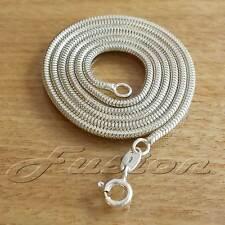 1.9 mm Solid 925 Sterling Silver Strong Snake Chain Necklace Anklet Bracelet