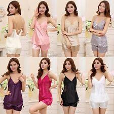 Sexy Lingerie Satin Laces Pyjamas Nightgown Sleepwear Silk Pajamas Babydoll