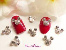 3D Nail Art Silver Mickey Ears Crystal Style Cartoon Rhinestone Gems Alloy Metal