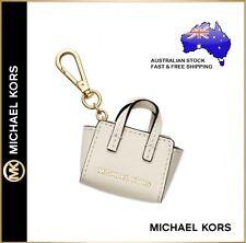 Michael Kors MK Selma Leather Mini Handbag Bag Charm Keyring Key chain Ecru/Gold